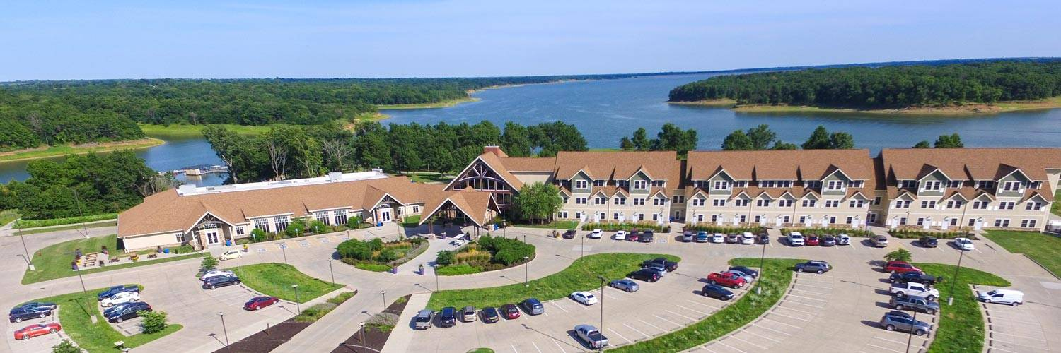 Aerial view of the main lodge shows where Honey Creek Resort is located next to Rathbun Lake