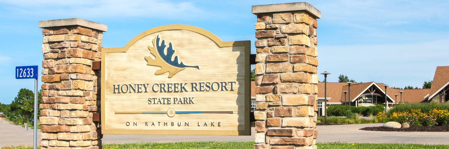 Honey Creek Resort State Park on Rathbun Lake sign outside of Honey Creek Resort