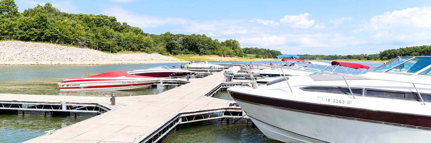 View of the boat slips and rentals at Honey Creek Resort's marina