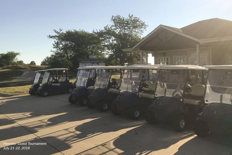 Golf carts outside of the Pro Shop at The Preserve on Rathbun Lake during the 2018 Member-Guest Tournament