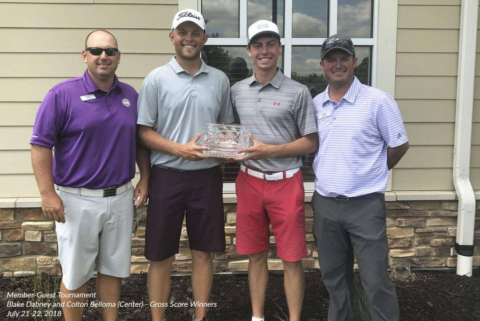 Blake Dabney and Colton Belloma, center, were the 2018 Member-Guest Tournament Gross Score Winners
