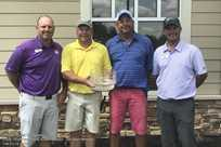Dusty Dowdy and Marty Kunkel, center, were the 2018 Member-Guest Tournament Net Team Winners