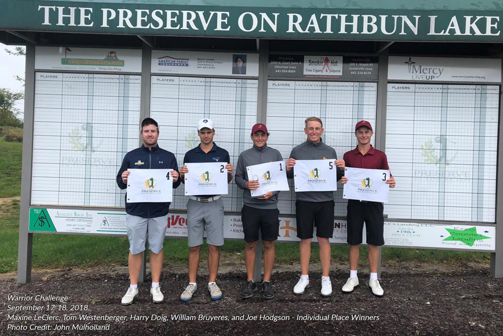 Warrior Challenge 2018 individual place winners at The Preserve on Rathbun Lake