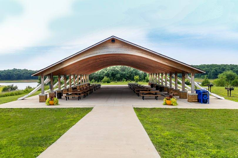 Outdoor wedding pavilion at Honey Creek Resort