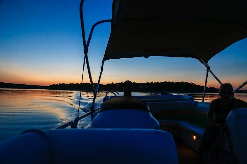 Sunset boat cruise on Rathbun Lake