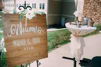 Wedding reception sign at Honey Creek Resort