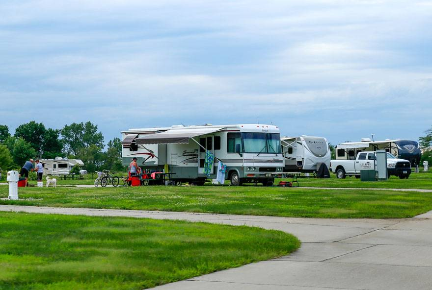 RV campers enjoying all that Honey Creek Resort has to offer, from the comfort of their own RV