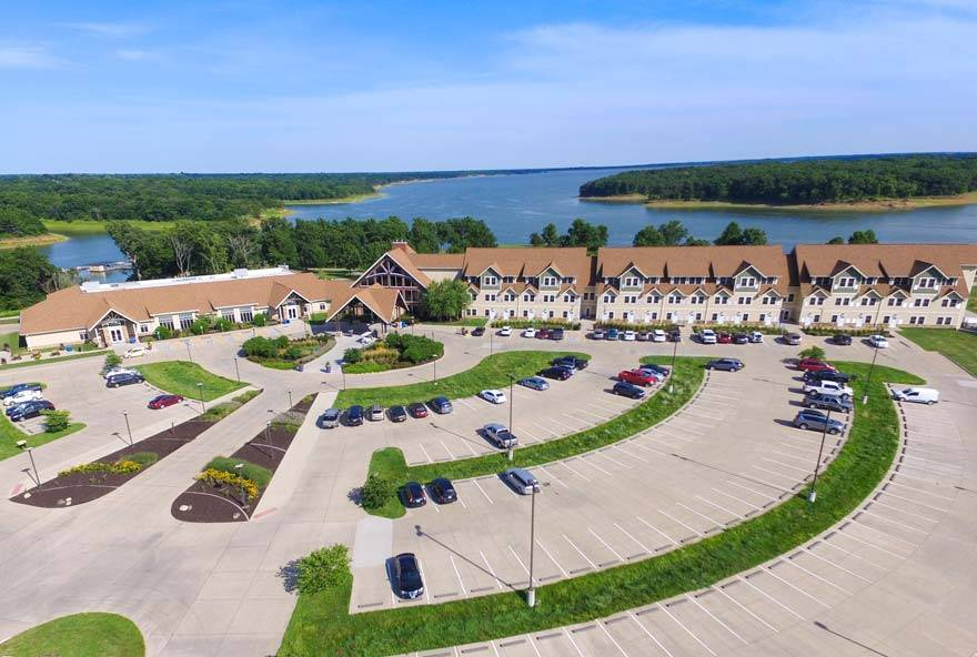 Main lodge at Honey Creek Resort with meeting and event space located on Rathbun Lake in Iowa