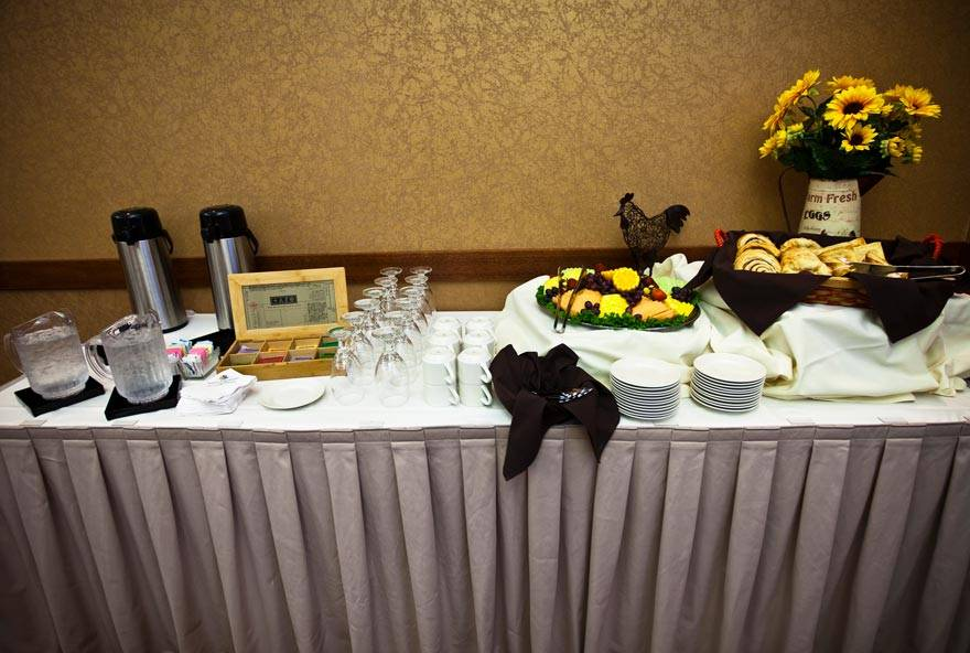 Banquet buffet display at an event at Honey Creek Resort