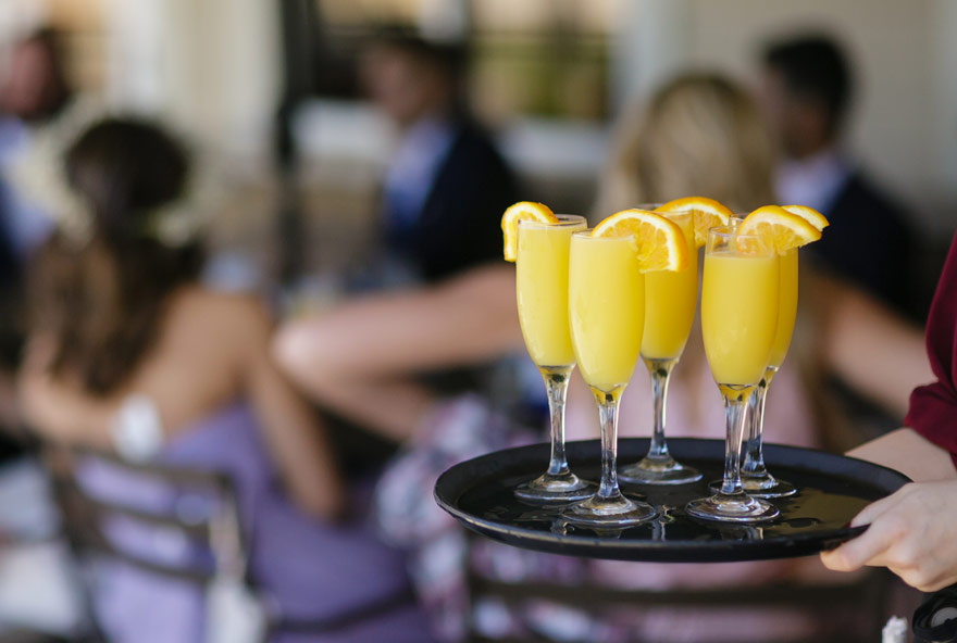 Mimosas are served at an event at Honey Creek Resort