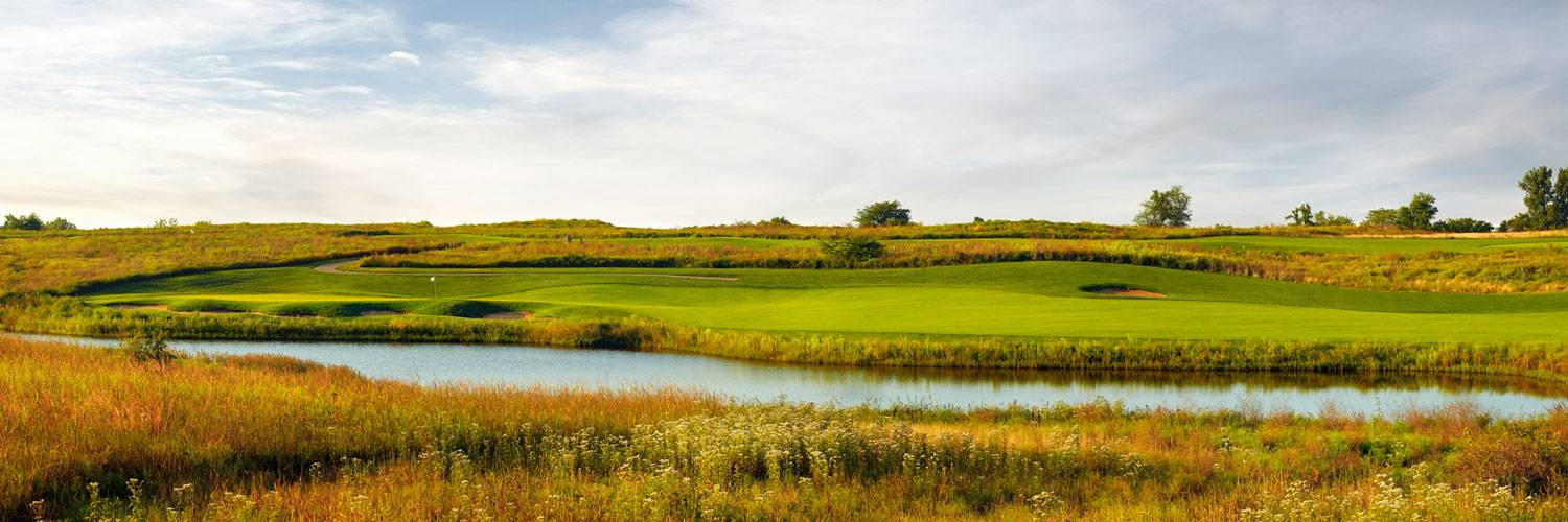 The golf course at The Preserve on Rathbun Lake overlooks streams and meadows at Honey Creek Resort