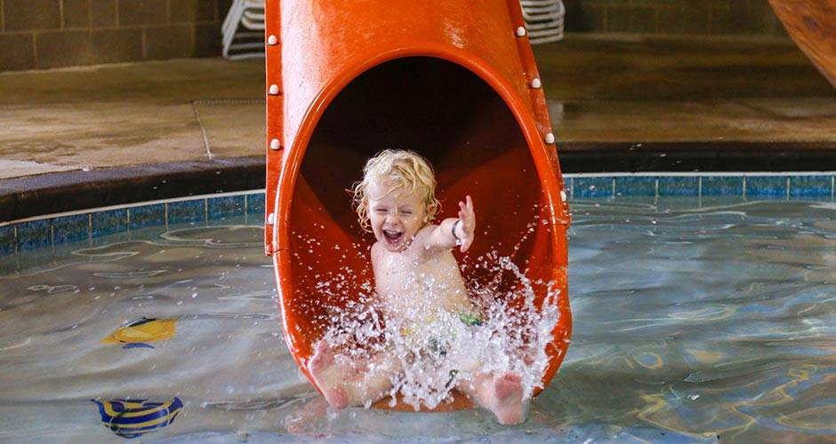 Enjoy splashing around at Buccaneer Bay Indoor Water Park at Honey Creek Resort in Iowa